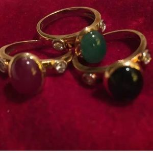 Jewelry - 14K GOLD CABOCHON RUBY, EMERALD &  SAPPHIRE RINGS